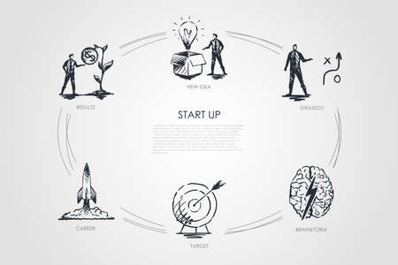 Start Up - new idea, strategy, results, career, target, brainstorm vector concept set. Hand drawn sketch isolated illustration Çizim