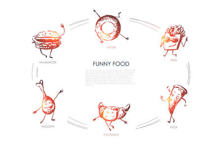 Funny food - hamburger, nuggets, croissant, pizza, fries, fritter vector concept set. Hand drawn sketch isolated illustration