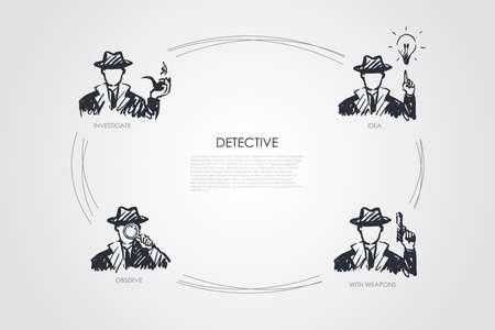 Detective: indagare, osservare, ideare, con set di concetti vettoriali di armi. Illustrazione isolata schizzo disegnato a mano
