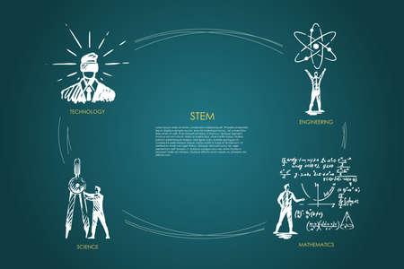 STEM, technologie, ingénierie, mathématiques, jeu de vecteurs scientifiques
