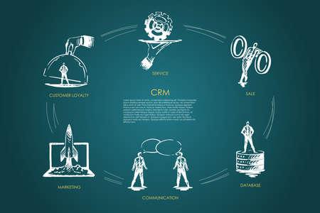 CMR, sale, data base, communication, marketing, customer loyality vector set