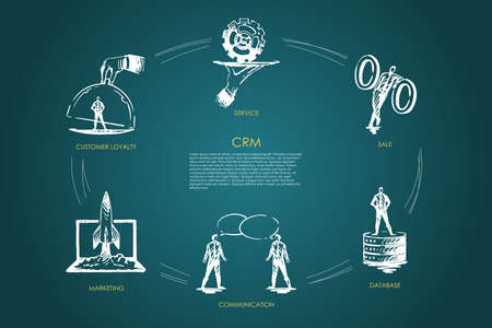 CMR, vente, base de données, communication, marketing, ensemble de vecteurs de fidélité client