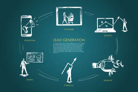 Lead Generation, strategy, infuence, potencial, traffic, consumer vector set