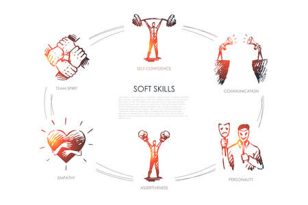 Soft skills, self-confidence, personality, assertiveness, team spirit vector set Stock Illustratie