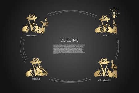Détective - enquêter, observer, idée, avec un ensemble de concepts vectoriels d'armes. Illustration isolée de croquis dessinés à la main