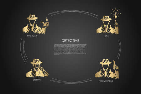 Detective - investigate, observe, idea, with weapons vector concept set. Hand drawn sketch isolated illustration