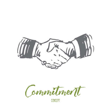 Compromiso, mano, trato, negocio, concepto de asociación. Boceto de concepto de temblor de mano dibujado a mano. Ilustración de vector aislado. Ilustración de vector