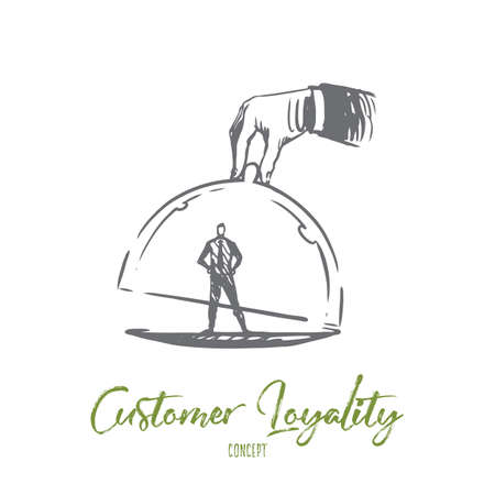 Customer loyalty, business, marketing, service concept. Hand drawn customer under glass cap concept sketch. Isolated vector illustration.