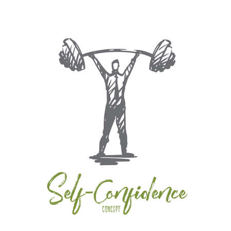 Self-confidence, success, boss, strength, career concept. Hand drawn strength man with heavy barbell concept sketch. Isolated vector illustration.