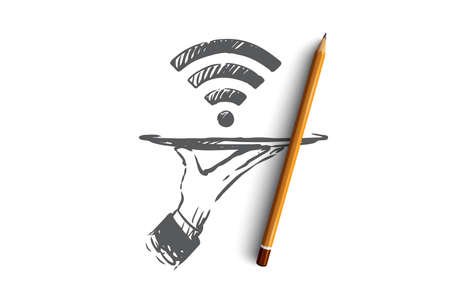 Provider, wi-fi, internet, network, access concept. Hand drawn symbol of wi-fi signal concept sketch. Isolated vector illustration.