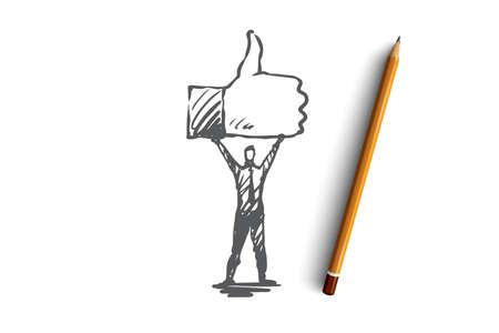 Comme, symbole, bon, réseau, concept de doigt. La personne dessinée à la main tient le symbole d'un croquis de concept similaire Illustration vectorielle isolé.