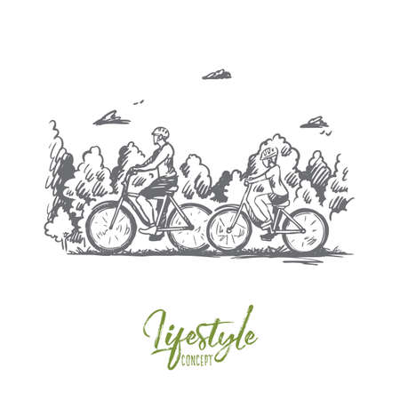 Family, bicycle, sport, happy, lifestyle concept. Hand drawn family walking with bicycles outdoor concept sketch. Isolated vector illustration.