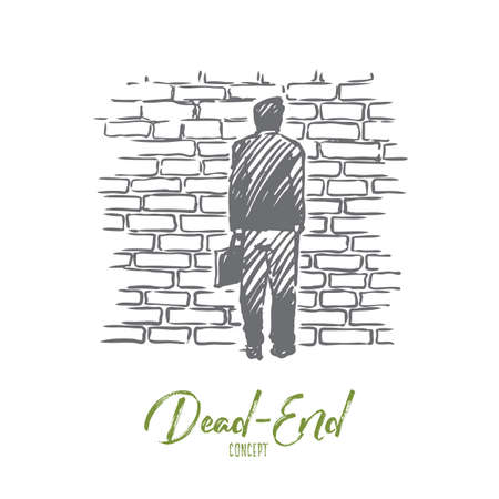 Dead end, problem, impasse, ponder concept. Hand drawn man stand in front of brick wall, symbol of dead-end concept sketch. Isolated vector illustration.