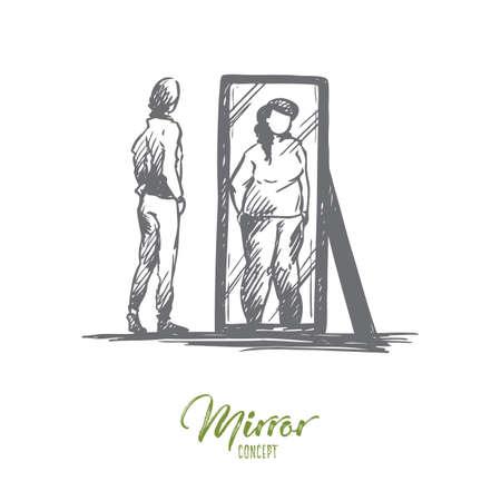 Fille, miroir, corps, déformé, concept de poids. Adolescente malheureuse dessinée à la main regarde le miroir avec croquis de concept d'image corporelle déformée. Illustration vectorielle isolé.
