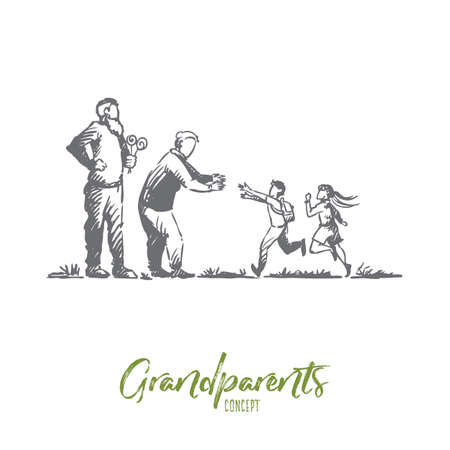 Grandparents, grandchildren, family, generation concept. Hand drawn happy big family with grandmother and grandfather concept sketch. Isolated vector illustration.