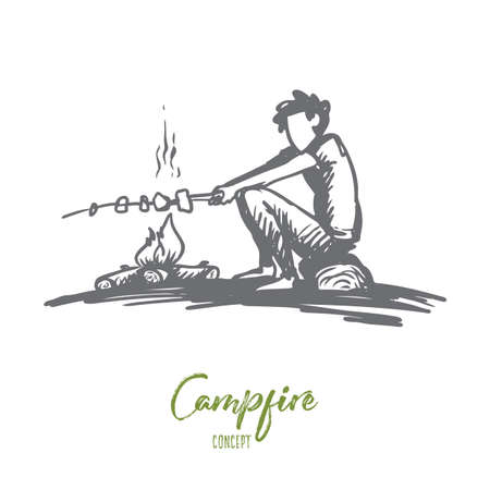 Boy, campfire, summer, rest, scout concept. Hand drawn boy sits near bonfire and roasts marshmallows concept sketch. Isolated vector illustration.