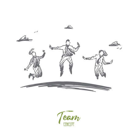 Business, team, success, teamwork concept. Hand drawn business team jumping and celebrating success concept sketch. Isolated vector illustration.