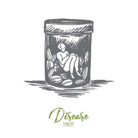 Painkiller, addiction, drogues, concept de maladie. Main dessinée homme assis à l'intérieur de la crosse avec croquis de concept de médicaments ou de pilules. Illustration vectorielle isolé.