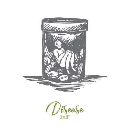 Pijnstiller, verslaving, drugs, ziekteconcept. Hand getekende man zit binnenkant buttle met drugs of pillen concept schets. Geïsoleerde vectorillustratie.