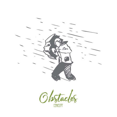 Obstacles, difficulties, problems concept. Hand drawn man with umbrella and rain as symbol of difficulties concept sketch. Isolated vector illustration. Иллюстрация