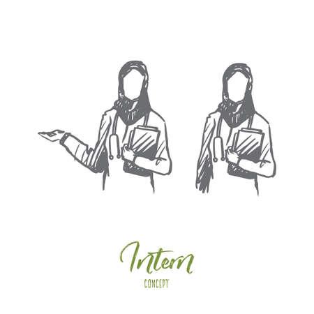 Intern, nurse, Islam, clinic, medicine concept. Hand drawn two muslim nurses in clinic concept sketch. Isolated vector illustration.