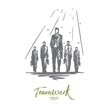 Teamwork, together, leadership, recruiting, human resources concept. Hand drawn team of businessmen working together concept sketch. Isolated vector illustration. Illustration