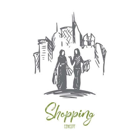Shopping, ville, musulman, arabe, concept de hijab. Femmes musulmanes dessinées à la main sur l'esquisse de concept de magasinage. Illustration vectorielle isolé.