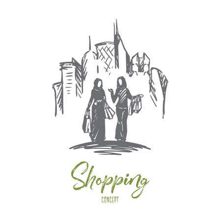 Shopping, city, muslim, arab, hijab concept. Hand drawn muslim women on shopping concept sketch. Isolated vector illustration.