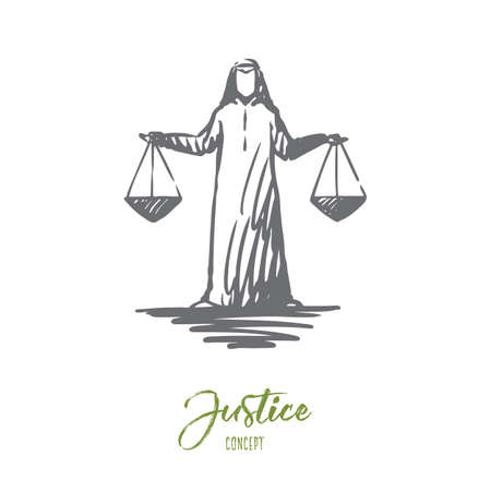 Justice, Islam, weighing, balance concept. Hand drawn Arab judge with Libra in his hands concept sketch. Isolated vector illustration.