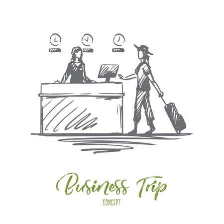 Airport, business trip, design, businesswoman, lifestyle concept. Hand drawn businesswoman with luggage at airport registration concept sketch. Isolated vector illustration.