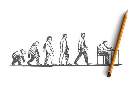 Evolution, homme d'affaires, programmeur, concept primitif. Figures dessinées à la main de primates et d'humains, croquis de concept d'évolution. Illustration vectorielle isolé.