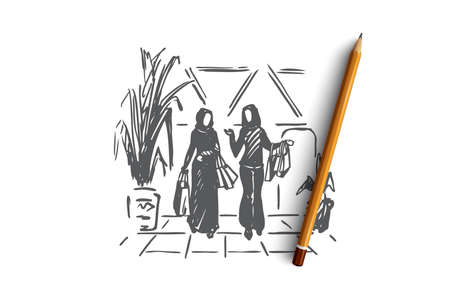 Shopping, boutique, muslim, arab, hijab concept. Hand drawn muslim women doing shopping in mall concept sketch. Isolated vector illustration. 向量圖像
