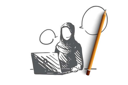 Support, communication, service, Islam, hijab concept. Hand drawn muslim woman working as support manager concept sketch. Isolated vector illustration.