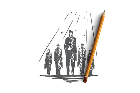 Teamwork, together, leadership, recruiting, human resources concept. Hand drawn team of businessmen working together concept sketch. Isolated vector illustration. Illusztráció