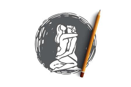 Relación, sexo, Kamasutra, hombre, concepto de mujer. Hombre y mujer dibujados a mano tienen boceto del concepto de seguridad. Ilustración de vector aislado. Ilustración de vector