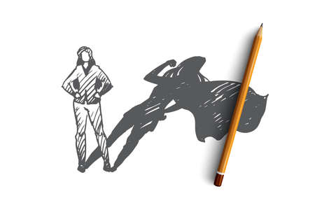 Superwoman, self-esteem, businessman, potential concept. Hand drawn woman with high potential and hidden talent concept sketch. Isolated vector illustration.