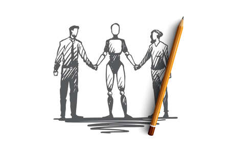 Communication, HCI, automation, businessman, partnership concept. Hand drawn partners hold hands with robot concept sketch. Isolated vector illustration.