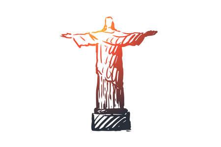Jesus, statue, monument, religion, Christ concept. Hand drawn statue of Jesus Christ concept sketch. Isolated vector illustration.