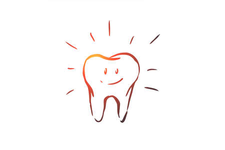 Cleaned tooth, care, dental, health, hygiene concept. Hand drawn teeth care concept sketch. Isolated vector illustration.