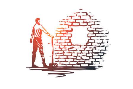 Überwindung, Ziel, Ziel, Leistungsvektorkonzept. Mann mit Schaukel, der Loch in der Mauer steht und betrachtet. Handgezeichnete Skizze isolierte Illustration