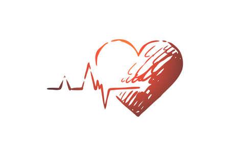 Gesundheit, Herz, Pflege, Herzschlag, Kardiogramm-Konzept. Handgezeichnetes Herz als Symbol der Gesundheitskonzeptskizze. Isolierte Vektor-Illustration.