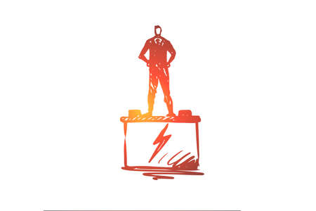 Auto, electronics, car, service, transport concept. Hand drawn man standing on car battery concept sketch. Isolated vector illustration.