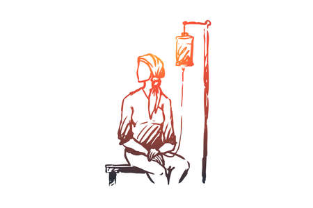 Oncology, disease vector concept. Woman in headscarf sitting under drip in hospital. Hand drawn sketch isolated illustration