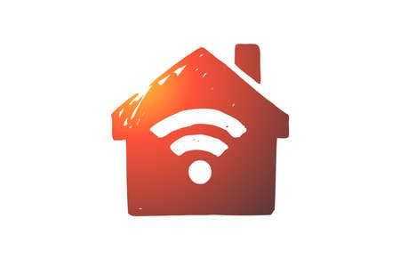 Wifi, internet connection, web, signal concept. Hand drawn sign of wifi internet concept sketch. Isolated vector illustration.