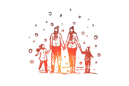 Family, togetherness, winter, Christmas happiness vector concept. Parents and two children walking on snowy weather in winter and holding hands. Hand drawn sketch isolated illustration Illustration