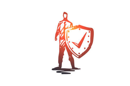 Life, save, shield, safety, protection concept. Hand drawn safeguard with shield concept sketch. Isolated vector illustration.