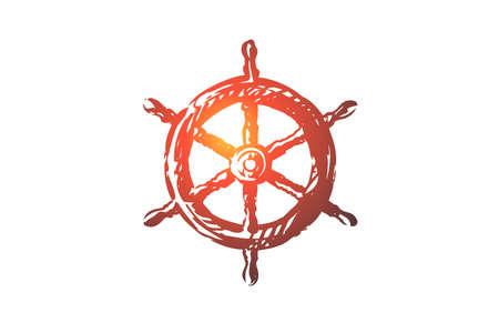 Steering, wheel, ship, nautical, sea concept. Hand drawn steering wheel of ship concept sketch. Isolated vector illustration.