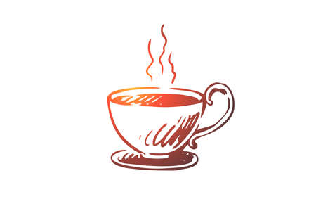Cup, coffee, cappuccino, hot, americano concept. Hand drawn cup of hot drink concept sketch. Isolated vector illustration.