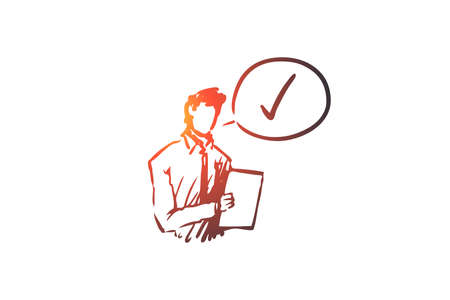 Approved, accepted vector concept. Businessman with documents thinking about approval. Hand drawn sketch isolated illustration