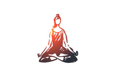 Sit, lotus, pose, woman, relax, yoga concept. Hand drawn woman sitting in lotus pose concept sketch. Isolated vector illustration.